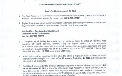 Invitation for Quotation for the Construction of Hospital Kitchen