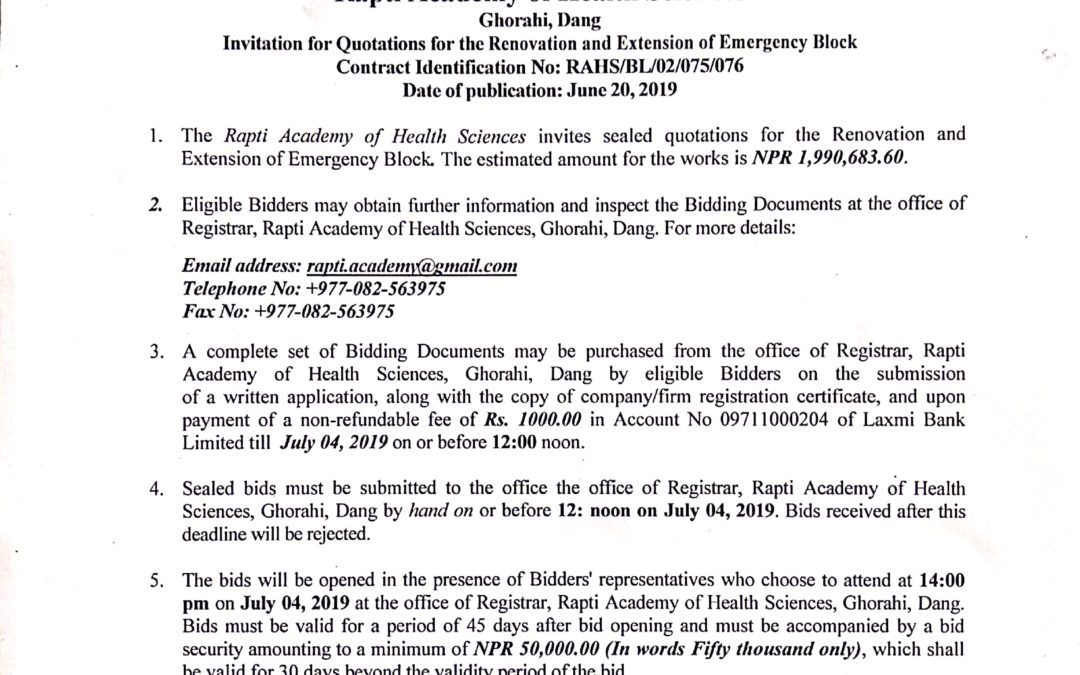 Invitation for Quotations for the Renovation and Extension pf Emergency Block