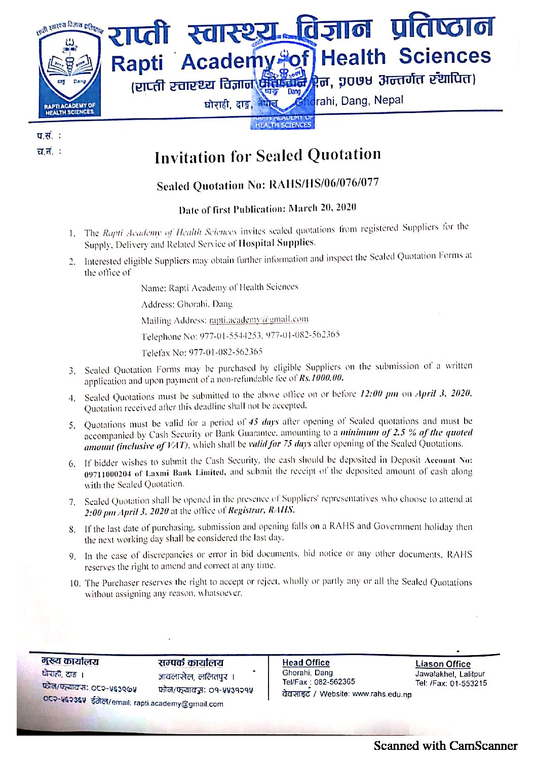 Quotation for Sealed Quotation
