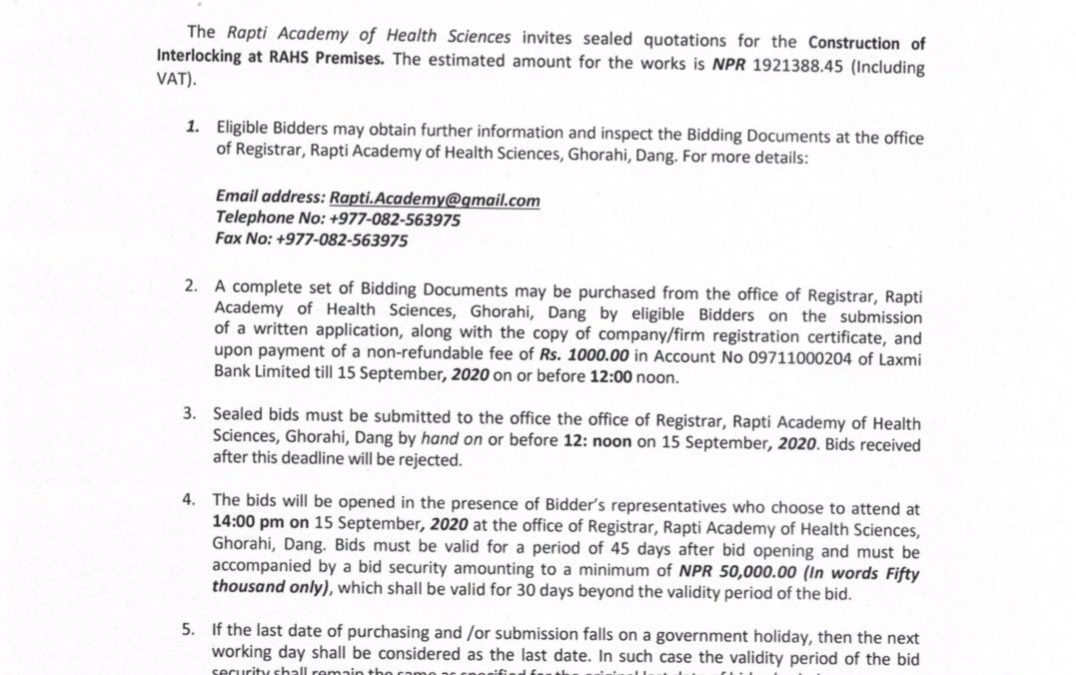 Invitation for Quotations for the Construction of Interlocking at RAHS Premises