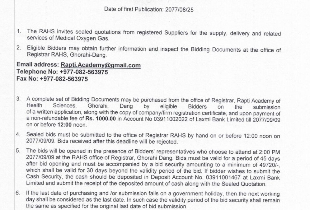 Sealed Quotation for the Procurement of Medical Oxygen Gas