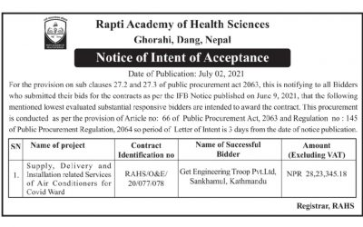 Notice of Intent of Acceptance