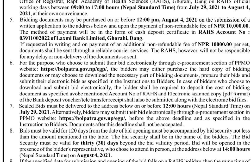 Invitation for Bids for Supply, Delivery and Installation of Medical Oxygen Generator Plant